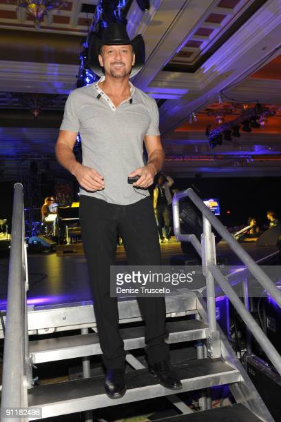 Recording artist Tim McGraw attends the 14th annual Andre Agassi Foundation for Education's Grand Slam for Children benefit concert rehearsals at...
