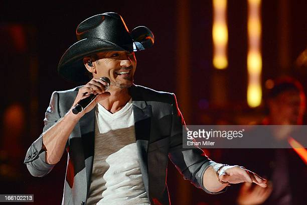 Recording artist Tim McGraw performs onstage during Tim McGraw's Superstar Summer Night presented by the Academy of Country Music at the MGM Grand...