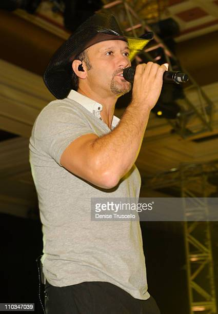 Recording artist Tim McGraw rehearses for the 14th annual Andre Agassi Foundation for Education's Grand Slam for Children benefit concert at Wynn Las...