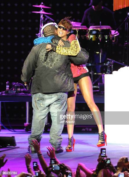 Recording artist Timbaland and singer Keri Hilson performs onstage at the Pepsi Super Bowl Fan Jam on February 4 2010 in Miami Beach Florida