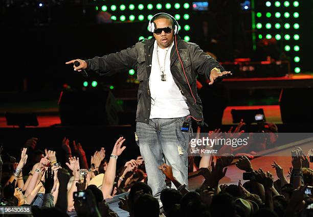 Recording artist Timbaland performs onstage at the Pepsi Super Bowl Fan Jam on February 4 2010 in Miami Beach Florida