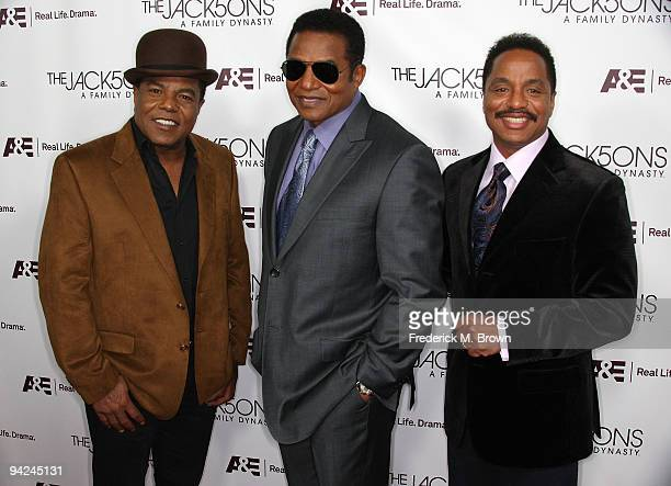 Recording artist Tito Jackson Jackie Jackson and Marlon Jackson attend the premiere of A E Network's 'The Jacksons A Family Dynasty' at Boulevard 3...