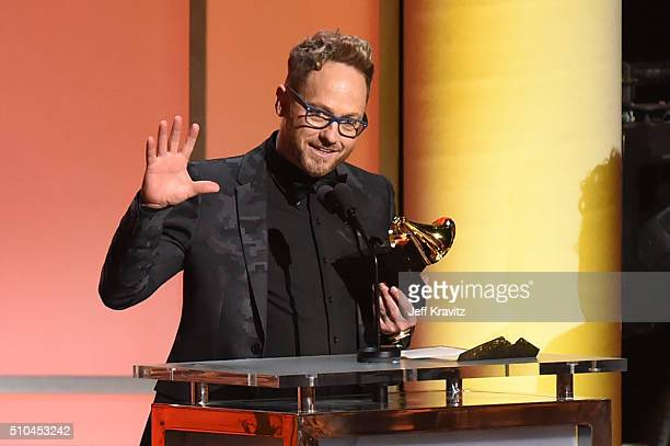 Recording artist TobyMac accepts the award for Best Contemporary Christian Music Album for 'This Is Not A Test' onstage during The 58th GRAMMY...