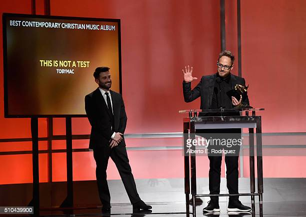 Recording artist TobyMac winner of Best Contemporary Christian Music Album for 'This Is Not A Test' accepts award onstage during the GRAMMY...