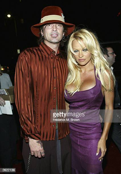 Recording artist Tommy Lee and actress Pamela Anderson attend the film premiere of 'Scary Movie 3' at the AMC Theatres Avco Cinema on October 20 2003...