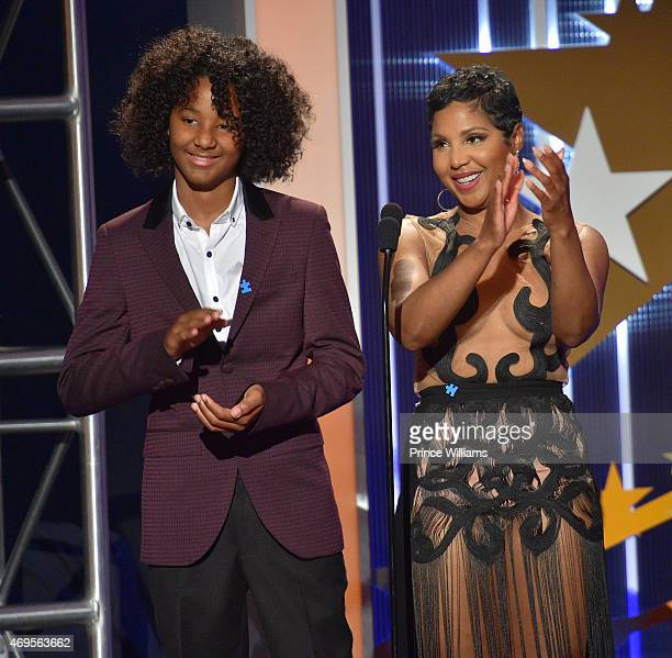 Recording artist Toni Braxton and her Son Diezel Ky Braxton-Lewis onstage at An Evening of Stars at Atlanta Civic Center on April 12, 2015 in...