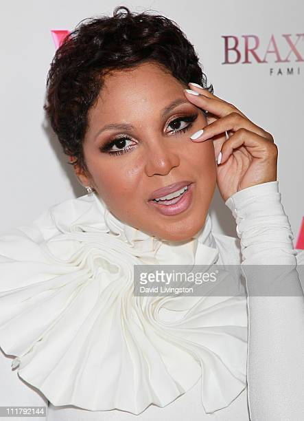 """Recording artist Toni Braxton attends the premiere of WE's """"Braxton Family Values"""" at The London West Hollywood on April 6, 2011 in West Hollywood,..."""