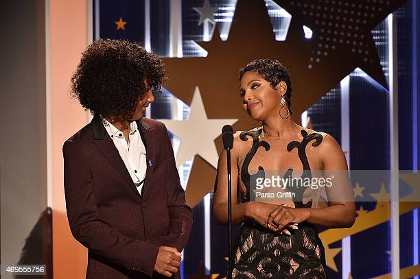 """Recording artist Toni Braxton with her son Diezel Ky Braxton-Lewis onstage at the UNCF """"An Evening Of Stars"""" at Boisfeuillet Jones Atlanta Civic..."""
