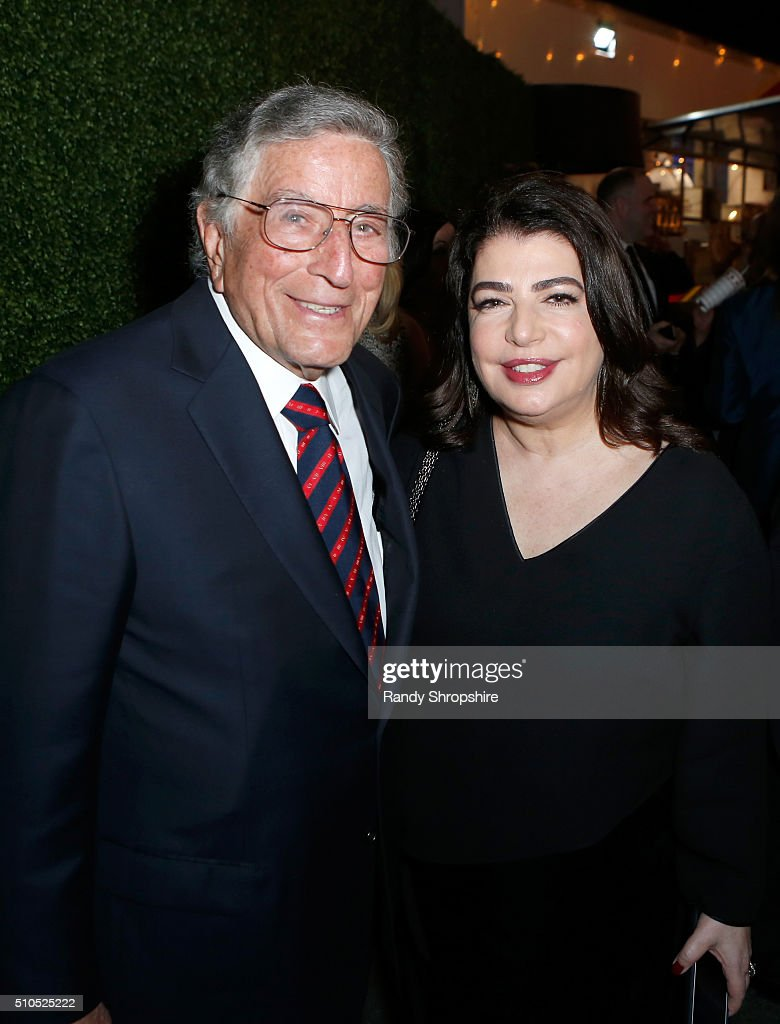 Recording artist Tony Bennett (L) and Executive Vice President, Universal Music Group Michelle Anthony attend the Republic Records Grammy Celebration presented by Chromecast Audio at Hyde Sunset Kitchen & Cocktail on February 15, 2016 in Los Angeles, California.
