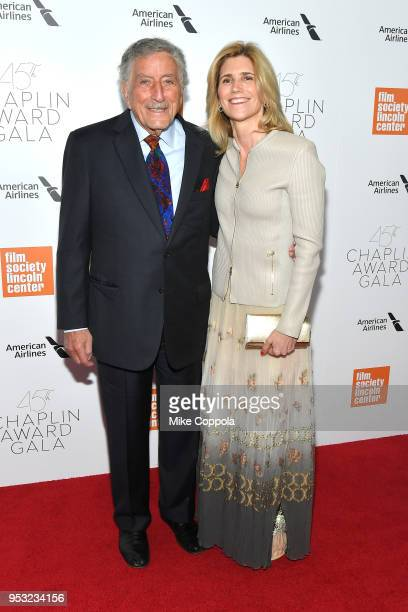 Recording artist Tony Bennett and Susan Crow attend the 45th Chaplin Award Gala at Alice Tully Hall Lincoln Center on April 30 2018 in New York City