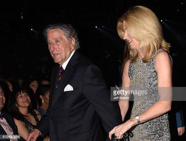 Recording artist Tony Bennett and Susan Crow during The 58th GRAMMY Awards at Staples Center on February 15 2016 in Los Angeles California