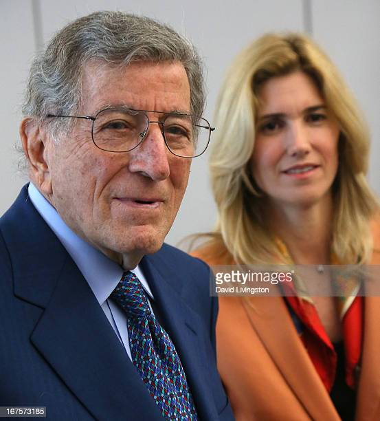 Recording artist Tony Bennett and wife Susan Benedetto tour Esteban E Torres High School in support of the Los Angeles expansion of Exploring the...