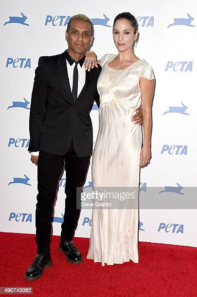 Recording artist Tony Kanal of No Doubt and actress Erin Lokitz attend PETA's 35th Anniversary Party at Hollywood Palladium on September 30 2015 in...