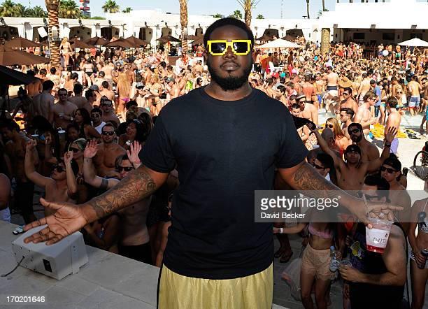 Recording artist TPain appears at Daylight Beach Club at the Mandalay Bay Resort Casino on June 8 2013 in Las Vegas Nevada