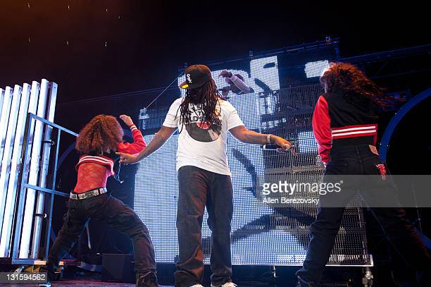 Recording artist TPain performs at Chris Brown's FAME Tour With TPain And TYGA at Verizon Wireless Amphitheater on November 5 2011 in Irvine...