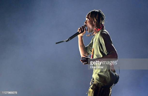Recording artist Travis Scott performs during a stop of his Astroworld: Wish You Were Here tour at T-Mobile Arena on February 6, 2019 in Las Vegas,...