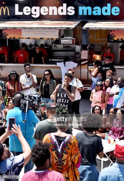 Recording artist Trevor Jackson attends day one of the Pool Groove sponsored by McDonald's during the 2017 BET Experience at Gilbert Lindsey Plaza on...