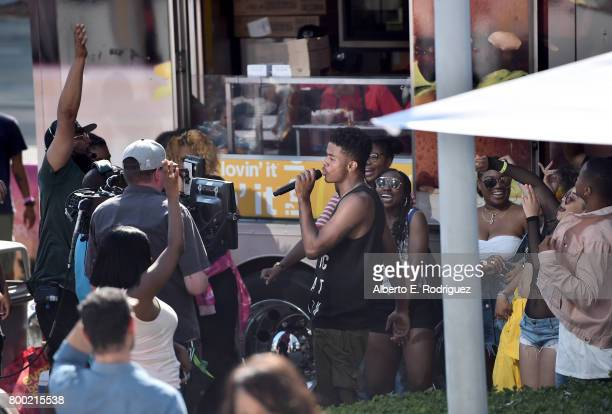 Recording artist Trevor Jackson performs during day one of the Pool Groove sponsored by McDonald's during the 2017 BET Experience at Gilbert Lindsey...