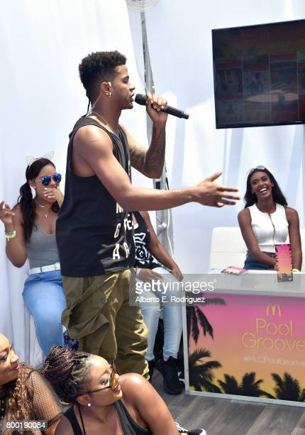 Recording artist Trevor Jackson speaks at day one of the Pool Groove, sponsored by McDonald's, during the 2017 BET Experience at Gilbert Lindsey...