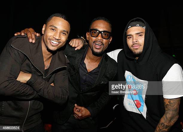 Recording artist Trey Songz, actor Bill Bellamy and recording artist Chris Brown attend the 2014 Soul Train Music Awards at the Orleans Arena on...