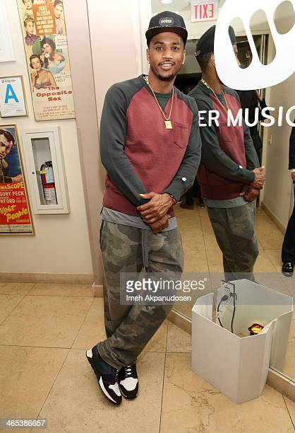 Recording artist Trey Songz attends the Warner Music Group annual GRAMMY celebration on January 26 2014 in Los Angeles California