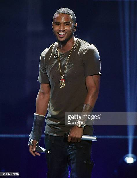 Recording artist Trey Songz performs at the 2015 iHeartRadio Music Festival at MGM Grand Garden Arena on September 19 2015 in Las Vegas Nevada