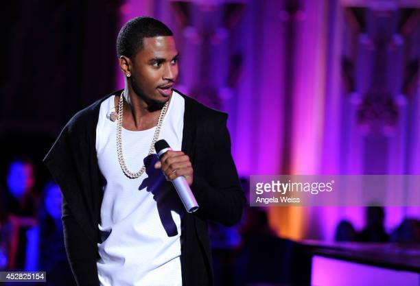 Recording artist Trey Songz performs onstage at the 2014 Young Hollywood Awards brought to you by Samsung Galaxy at The Wiltern on July 27 2014 in...