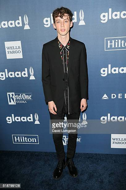 Recording artist Troye Sivan arrives at the 27th Annual GLAAD Media Awards at The Beverly Hilton Hotel on April 2 2016 in Beverly Hills California