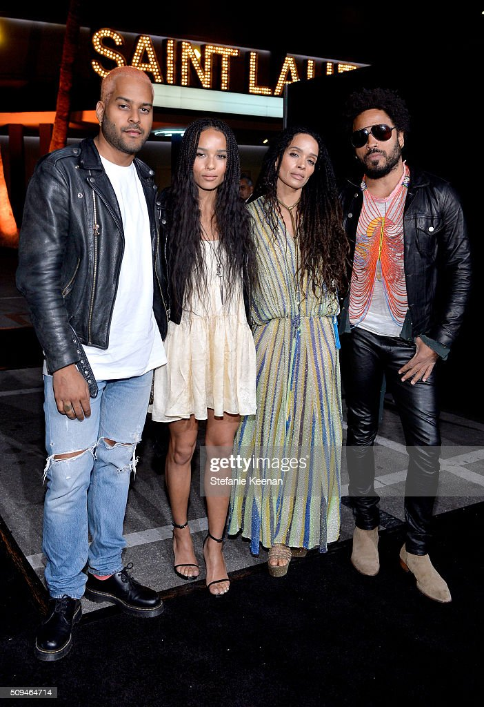 Recording artist Twin Shadow, actors Zoë Kravitz, in Saint Laurent by Hedi Slimane, Lisa Bonet and recording artist Lenny Kravitz attend Saint Laurent at the Palladium on February 10, 2016 in Los Angeles, California for the Saint Laurent Los Angeles show.