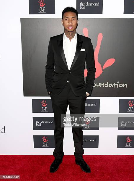 Recording artist Tyga attends the 2nd Annual Diamond Ball hosted by Rihanna and The Clara Lionel Foundation at The Barker Hanger on December 10 2015...