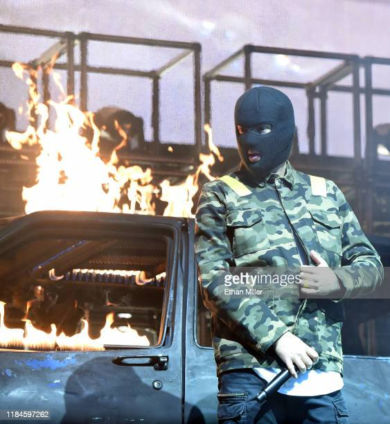 Recording artist Tyler Joseph of Twenty One Pilots performs during a stop of The Bandito Tour at MGM Grand Garden Arena on October 30, 2019 in Las...