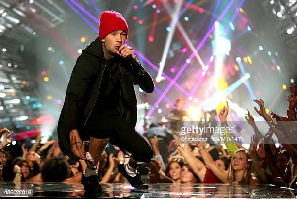 Recording artist Tyler Joseph of Twenty One Pilots performs onstage during the 2015 MTV Video Music Awards at Microsoft Theater on August 30 2015 in...