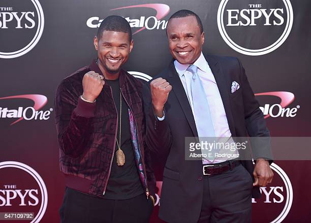 Recording artist Usher and boxer Sugar Ray Leonard attend the 2016 ESPYS at Microsoft Theater on July 13 2016 in Los Angeles California