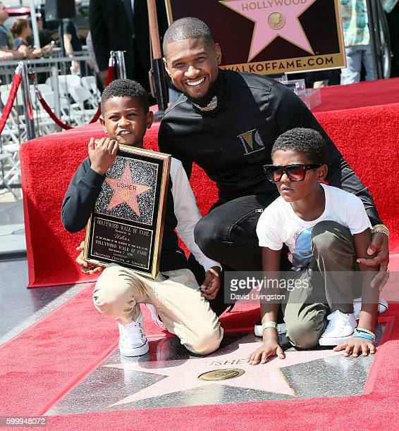 Recording artist Usher and sons attend his being honored with a Star on the Hollywood Walk of Fame on September 7 2016 in Hollywood California