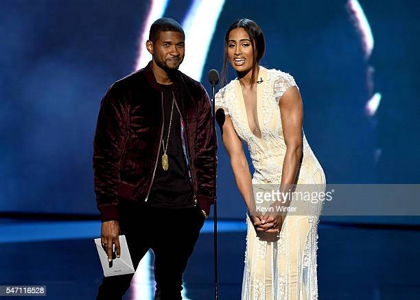 Recording artist Usher and WNBA player Skylar Diggins speak onstage during the 2016 ESPYS at Microsoft Theater on July 13 2016 in Los Angeles...