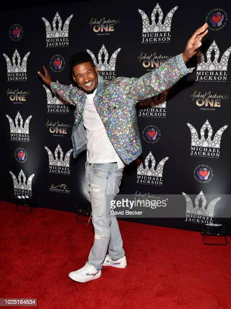 Recording artist Usher attends the Michael Jackson diamond birthday celebration at the Mandalay Bay Resort and Casino on August 29 2018 in Las Vegas...