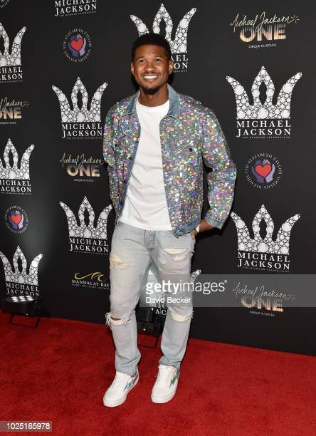 Recording artist Usher attends the Michael Jackson diamond birthday celebration at Mandalay Bay Resort and Casino on August 29 2018 in Las Vegas...