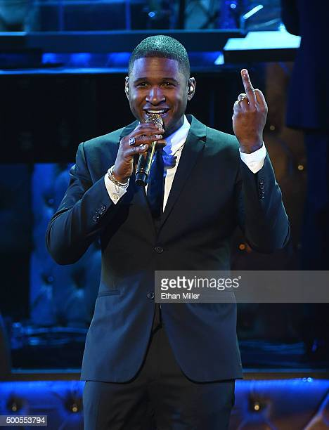 Recording artist Usher performs during 'Sinatra 100 An AllStar GRAMMY Concert' celebrating the late Frank Sinatra's 100th birthday at the Encore...