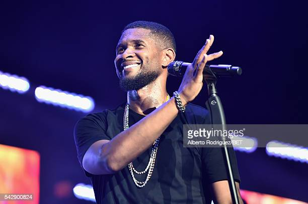 Recording artist Usher performs onstage during the 2016 BET Experience at Staples Center on June 24 2016 in Los Angeles California
