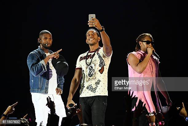 Recording artist Usher rapper/actor Ludacris and rapper Lil Jon perform at the 2016 iHeartRadio Music Festival at TMobile Arena on September 24 2016...