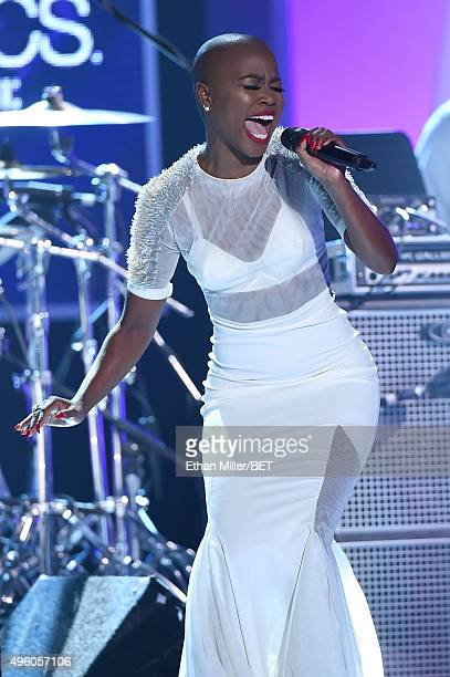 Recording artist V Bozeman performs onstage during the 2015 Soul Train Music Awards at the Orleans Arena on November 6 2015 in Las Vegas Nevada
