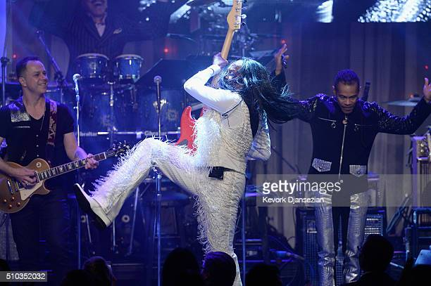 Recording artist Verdine White of music group Earth Wind Fire performs onstage during the 2016 PreGRAMMY Gala and Salute to Industry Icons honoring...