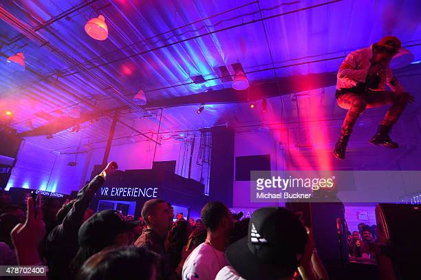 Recording artist Vic Mensa performs onstage at a Roc Nation curated Samsung exclusive concert at Samsung Studio LA on June 26 2015 in Los Angeles...