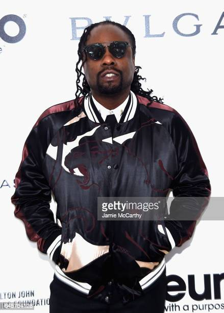 Recording Artist Wale attends the 25th Annual Elton John AIDS Foundation's Academy Awards Viewing Party at The City of West Hollywood Park on...