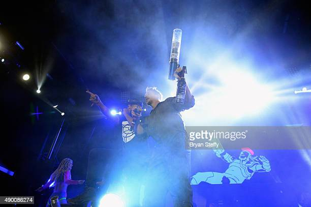 Recording artist Walshy Fire and DJ Diplo of Major Lazer performs during the 2015 Life is Beautiful festival on September 25 2015 in Las Vegas Nevada
