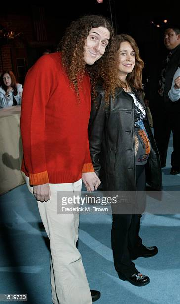Recording artist Weird Al Yankovic and his wife attend the party celebrating the 5th Anniversary of the TV show South Park on October 24 2002 in...
