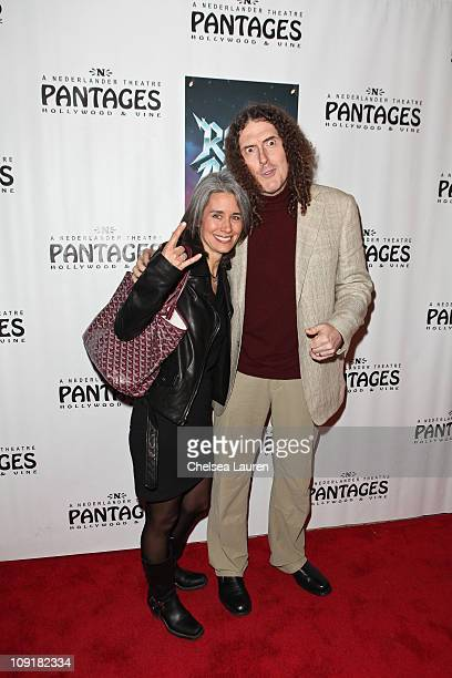 Recording artist Weird Al Yankovic and wife Suzanne Yankovic arrive at the Opening Night of Rock of Ages at the Pantages Theatre on February 15 2011...