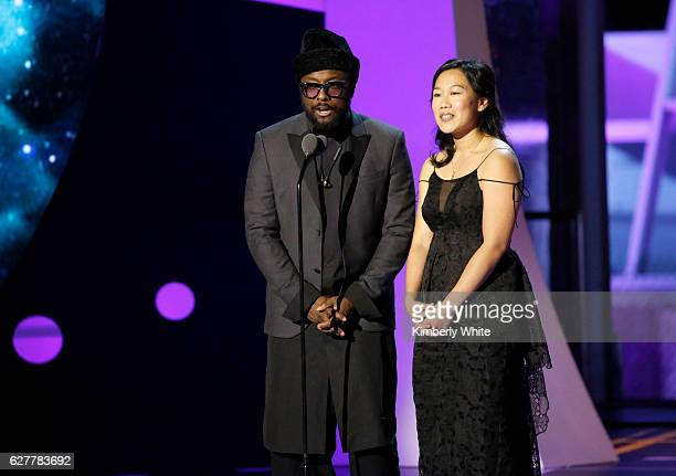 Recording Artist William and Breakthrough Prize CoFounder Dr Priscilla Chan speak onstage during the 2017 Breakthrough Prize at NASA Ames Research...