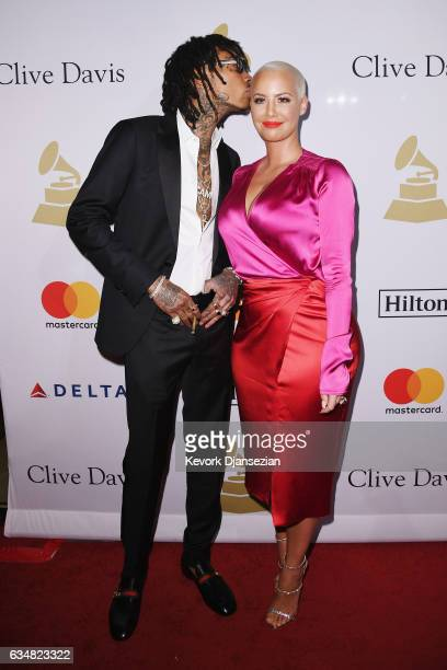 Recording artist Wiz Khalifa and Amber Rose attend PreGRAMMY Gala and Salute to Industry Icons Honoring Debra Lee at The Beverly Hilton on February...