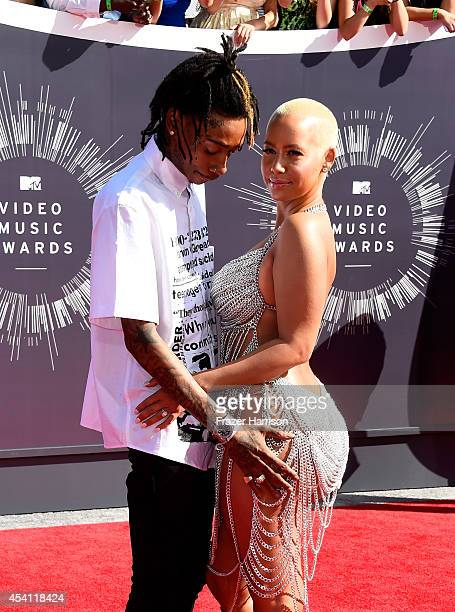 Recording artist Wiz Khalifa and model Amber Rose attend the 2014 MTV Video Music Awards at The Forum on August 24 2014 in Inglewood California